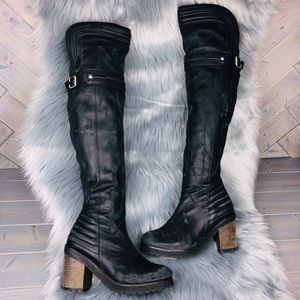 Free People Black Leather Distressed Tall Boots